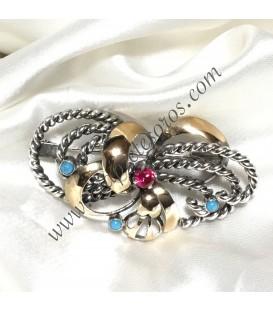 Broche aguja de plata y plata dorada con Turquesas y Rubí