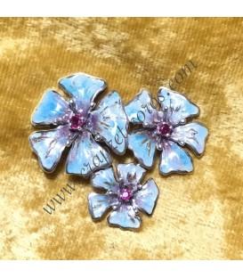 Broche aguja de flores de plata con esmalte y Rubíes
