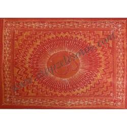 OM estampado en bello y cromático tapiz de algodón de la India