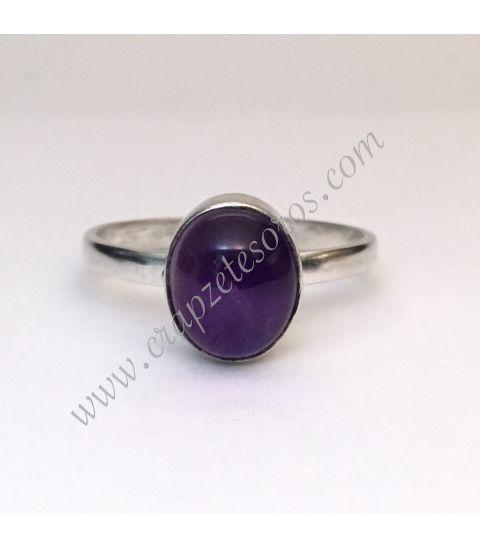 Amatista en anillo de plata